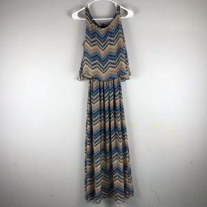 Robert Louis chevron print overly maxi dress blue